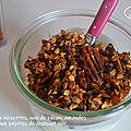 Granola aux noisettes, noix de pécan, amandes et pépites de chocolat noir