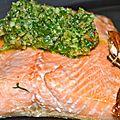 Pavé de saumon mariné, pesto d'oignons nouveaux