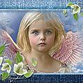 cadre bleu petite fille ange