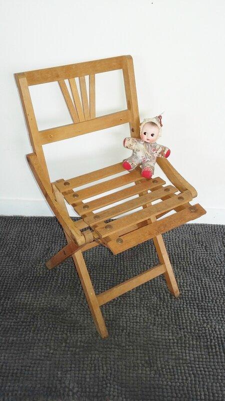 chaise pliante vintage années 50 enfant