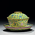 An Imperial Canton enamel yellow-ground bowl, <b>cover</b> <b>and</b> <b>stand</b>, Qianlong period (1736-1795)