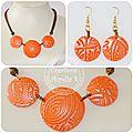 Parure lentilles oranges texturées et irisées