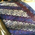 Tissu violet, bleu , balnc ...assez fin 120x150mm