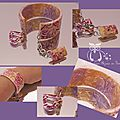 Bracelet imitation céramique violet or