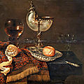 <b>Willem</b> <b>Claesz</b>. <b>Heda</b>, A clementine in a porcelain bowl, a nautilus cup, a roemer, two glasses, a knife, a peeled lemon on an orn