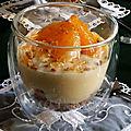 Verrine de crème pâtissière suprême de clémentine sur un lit de spéculoos
