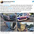 Rungis. Plusieurs véhicules de police dégradés et tagués, une tête de porc sur un manche à balai a été découverte