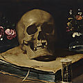 <b>Guercino</b>, A vanitas still life with a skull atop a book, an hourglass and two glass vases of flowers