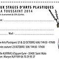 Stages de la toussaint 2014 : arts plastiques