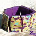 bracelet barres hidden + millefioris violet/turquoise/vert