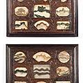 A pair of 'dreamstone' marble-inset panels, <b>Qing</b> <b>dynasty</b>