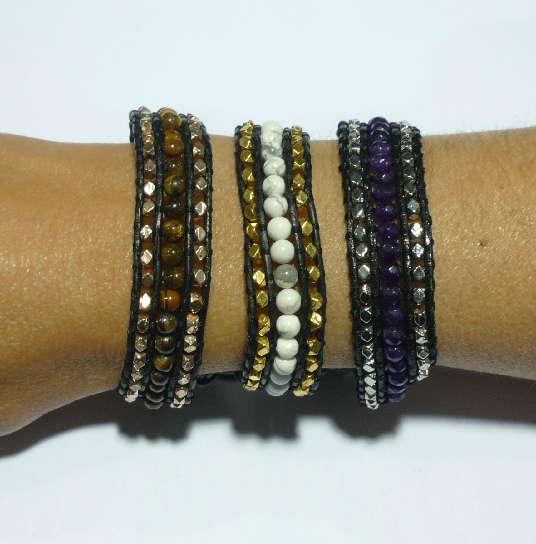 Bracelet Wrap en pierres semi-précieuses