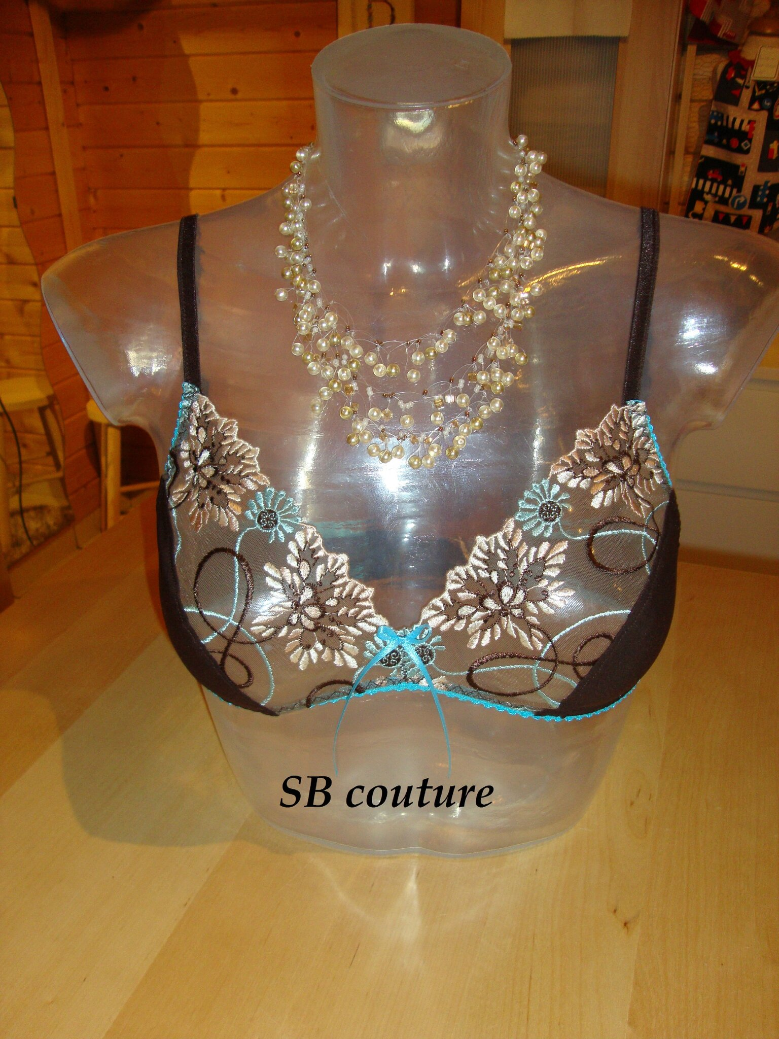 Soutien gorge choco& turquoise 1