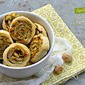 Feuilletés roulés au pesto de pistaches
