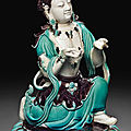 A turquoise and <b>aubergine</b>-<b>glazed</b> figure of a Bodhisattva, 18th-19th century