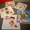 Des mouchoirs pour enfant vintage avec des héros qui nous replongent en enfance ! Ulysse 31, Margotte, Pimprenelle, Mickey,...