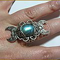 Bague elfique Wicca pagan <b>tri</b> <b>moon</b> labradorite medieval fantasy Ring