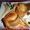 Bouchées au saumon et sa fondue de poireaux creme moutarde