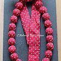 Collier boules en coton imprimé rouge à pois blancs