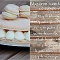 Grand macaron à la vanille, pèches et citron vert