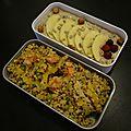 Mélange graines et légumes, et porridge aux fruits