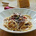 Spaghetti chitarra à la saucisse et aux cèpes