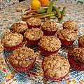Muffins a la rhubarbe, au gingembre & a l'orange