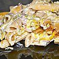 Gratin de pâtes, crème au gorgonzola et poireaux