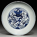 A blue and white 'dragon roundel' dish, Wanli eight-character mark and of the period (1573-<b>1619</b>)