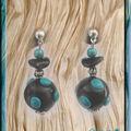 BO Fimo noire à pics turquoise (N)