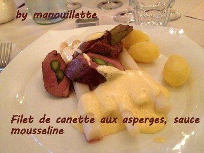 magret de canard aux asperges, sauce mousseline