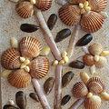 Tableau fait avec des coquillages de la côte atlantique.