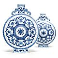A rare pair of blue and white '<b>Bajixiang</b>' moonflasks, Qianlong seal marks and period (1735-1796)