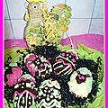 Oeufs de pâques au gâteau au chocolat fourré chocolat blanc fève tonka