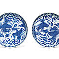 A pair of blue and white '<b>phoenix</b>' dishes, Wanli six-character marks in underglaze blue and of the period (1573-1620)