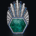 An Art <b>Deco</b> carved emerald, sapphire, diamond and pearl aigrette, Paul Iribe for Robert Linzeler