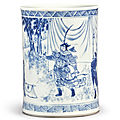 a blue and white 'figural' brushpot, qing dynasty, kangxi period (1662-1722)