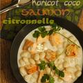 Soupe haricot coco-saumon-citronnelle & lait de coco