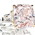 A <b>cushion</b>-shaped Fancy Pink diamond ring weighing approximately 12.16cts, VVS2