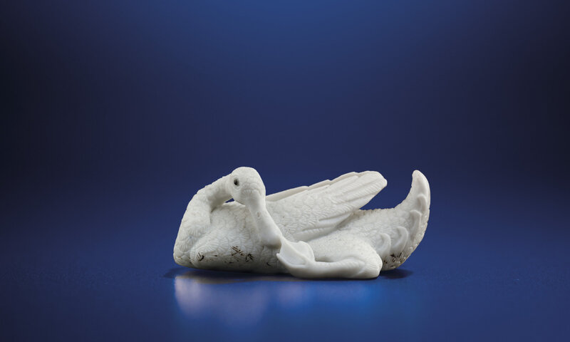 A very rare carved biscuit model of a duck, Daoguang-Xianfeng period (1821-1861)