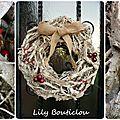 Noël couronne bois jute baies rouges lilybouticlou