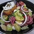 <b>Salade</b> de pommes de terre aux gésiers et aux Pélardons