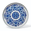 A soft-paste blue and white '<b>lotus</b>' <b>dish</b>, 18th-19th century
