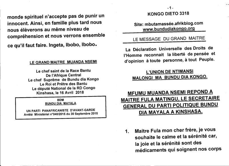 MFUMU MUANDA NSEMI REPOND A MAITRE FULA a