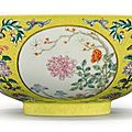 A yellow-ground famille-rose 'medallion' bowl, daoguang seal mark and period (1821-1850)