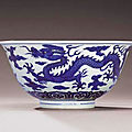A rare late Ming anhua-decorated blue and white 'dragon and <b>phoenix</b>' bowl, Wanli six-character mark and of the period (1573-1619
