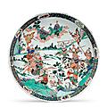 A large famille verte dish, kangxi period (1735-96)