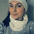 Phildar / White snood and head band winter first present...