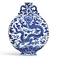 A finely painted and rare blue and white 'dragon' moonflask, seal mark and period of qianlong (1736-1795)