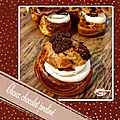Choux chocolat praliné : ganache chocolat croustillant pralinoise chantilly mascarpone noix de pécan caramélisées